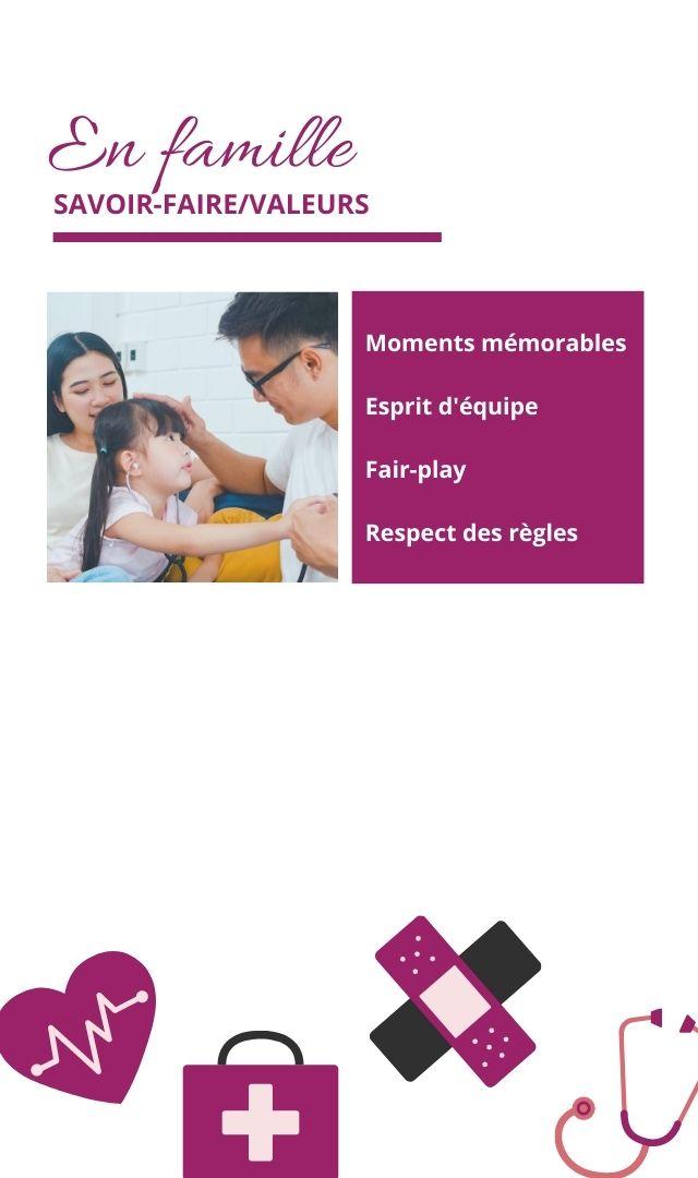 En famille SAVOIR-FAIRE/VALEURS Moments mémorables Esprit d' équipe Fair-play Respect des règles +