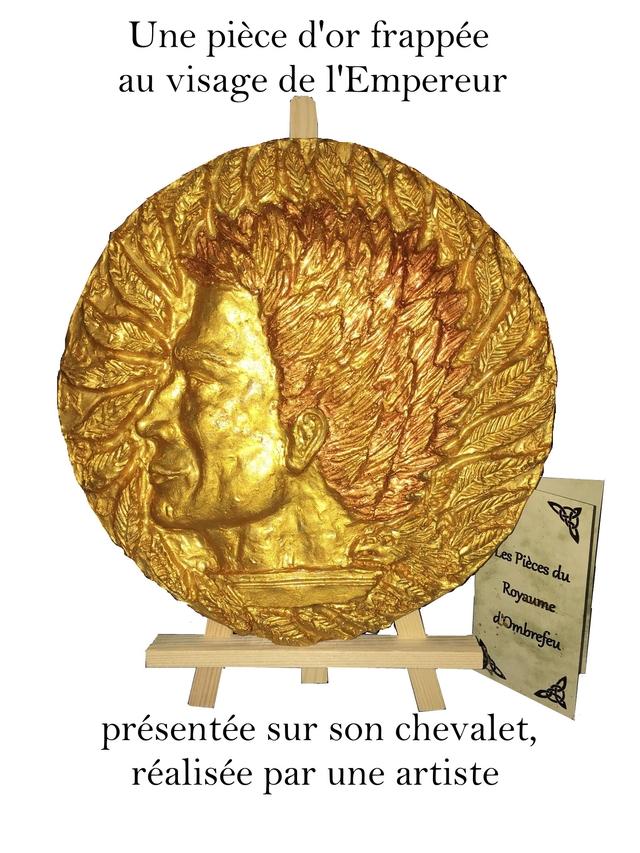 Une piece d'or frappee au visage de du presentee sur son chevalet, realisee par une artiste