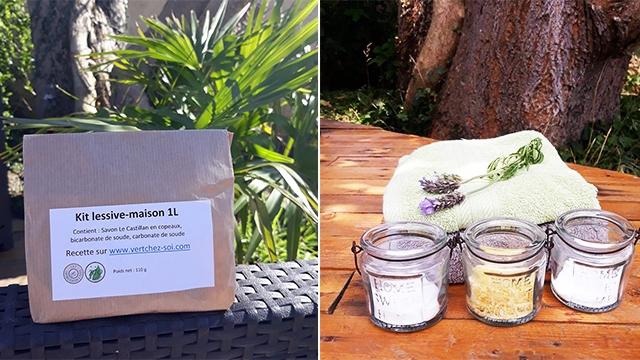 Kit lessive maison de Vert chez-soi, pot de bicarbonate, pot de savon Le Castillan en copeaux, pot de cristaux de soude