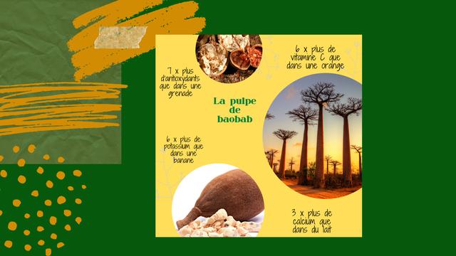X plus de vitamine C que X plus dans une orange d'antioxydants que dans une grenade La pulpe de baobab X plus de potassium que dans une banane 3 X plus de calcium que dans du lait