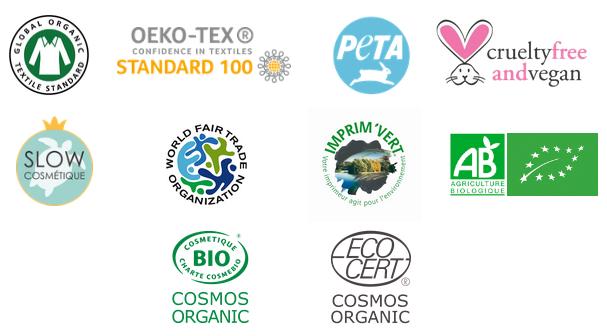 OEKO-TEX R CONFIDENCE IN TEXTILES V crueltyfree STANDARD 100 andvegan FAIR RIM SLOW AB COSMETIQUE AGRICULTURE ANIZA BIO CERT COSMOS COSMOS ORGANIC ORGANIC