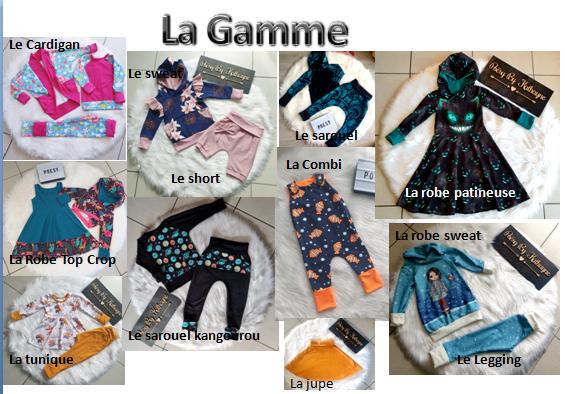 La Gamme Le Cardigan Le sweat Le sarduel La Combi Le short PO La robe patineuse La robe sweat La Robe Top Crop Le sarouel La tunique Le Legging La jupe
