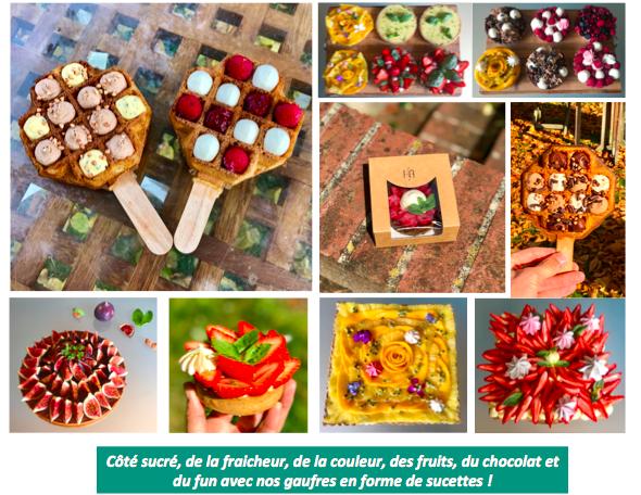 sucre de la fraicheur, de couleur, des fruits, du chocolat et du fun avec nos gaufres en forme de sucettes I