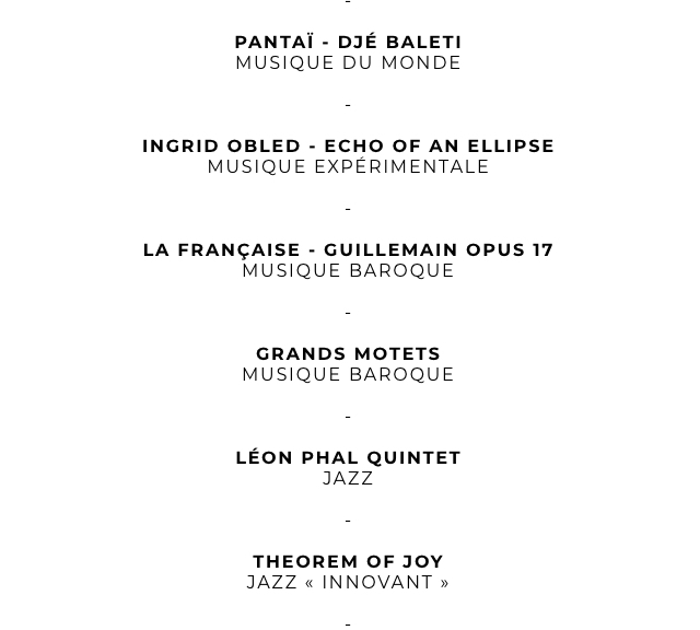 PANTAI - DJE BALETI MUSIQUE DU MONDE - INGRID OBLED - ECHO OF AN ELLIPSE MUSIQUE EXPERIMENTALE - LA FRANCAISE - GUILLEMAIN OPUS 17 MUSIQUE BAROQUE GRANDS MOTETS MUSIQUE BAROQUE LEON PHAL QUINTET JAZZ - THEOREM OF JOY JAZZ INNOVANT >