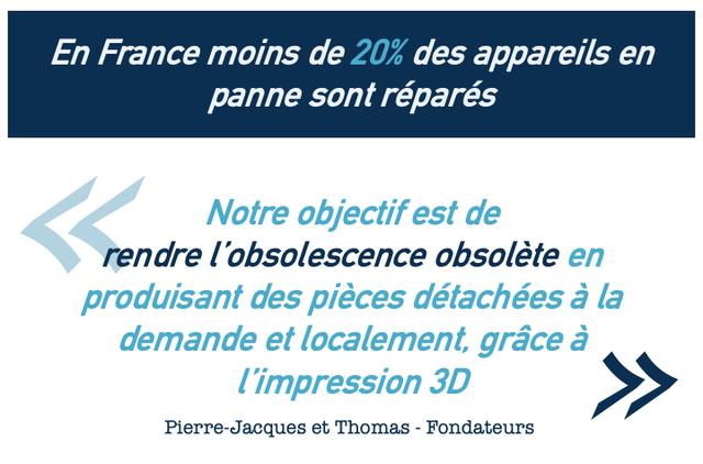 En France moins de 20% des appareils en panne sont repares Notre objectif est de rendre l'obsolescence obsolete en produisant des pieces detachees a la demande localement, grace a limpression 3D Pierre-Jacques et Thomas - Fondateurs