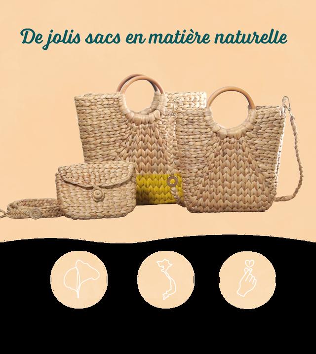 De jolis sacs en matiere naturelle Fabrication en Artisanat et savoir-faire Tressage a la main Jacinthe d'eau Vietnamien