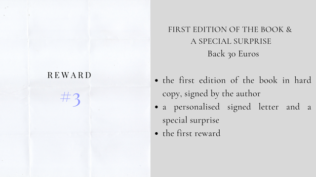 FIRST EDITION OF THE BOOK & A SPECIAL SURPRISE Back 30 Euros REWARD the first edition of the book in hard 3 copy, signed by the author a personalised signed letter and a specia surprise the first reward