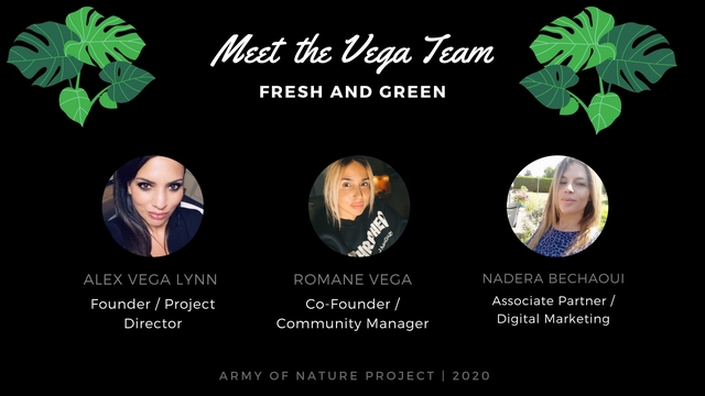 Meet the Vega Team FRESH AND GREEN ALEX LYNN ROMANE NADERA Founder / Project Co-Founder / Associate Partner / Director Community Manager Digital Marketing ARMY OF NATURE PROJECT I 2020