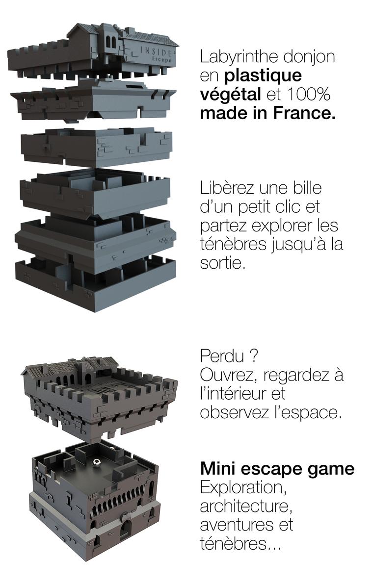 Escope Labyrinthe donjon en plastique végétal et 100% made in France. Libèrez une bille d'un petit clic et partez explorer les ténèbres jusqu'à la sortie. Perdu ? Ouvrez, regardez à l'intérieur et observez l'espace. Mini escape game Exploration, architecture, aventures et ténèbres.