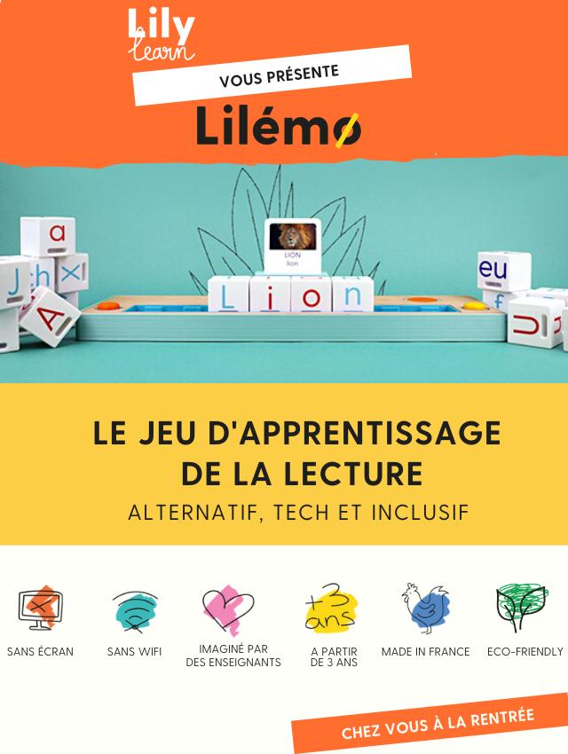 Lilylearn vous présente Lilémo : le jeu d'apprentissage de la lecture alternatif, tech et inclusif. Sans écran, sans wifi, imaginé par des enseignants, à partir de 3 ans, made in France, ecofriendly