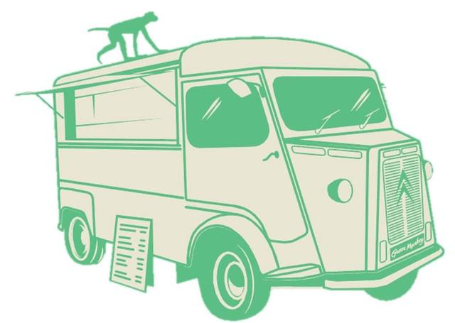 Pictogramme d'un singe vert qui marche sur un Citroën HY