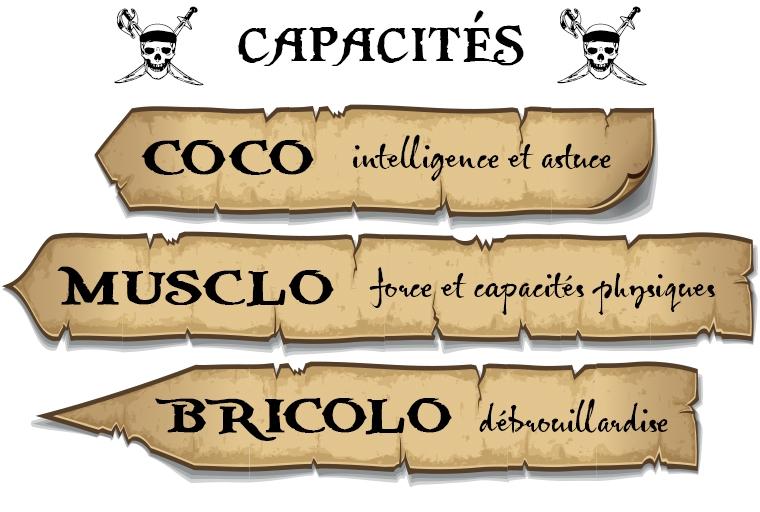 CAPACITÉS COCO intelligence et astuce MUSCLO et capacites physiques BRICOLO