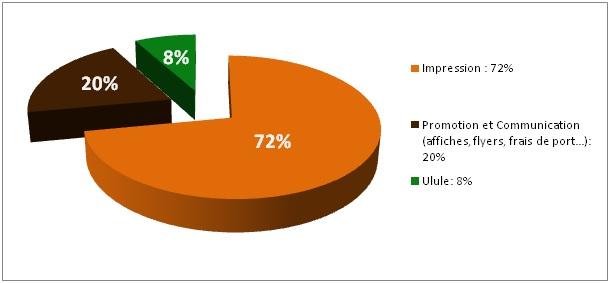 8% Impression:72% 20% Promotion et Communication 72% (affiches,flyers, frais de port...) 20% Ulule: 8%