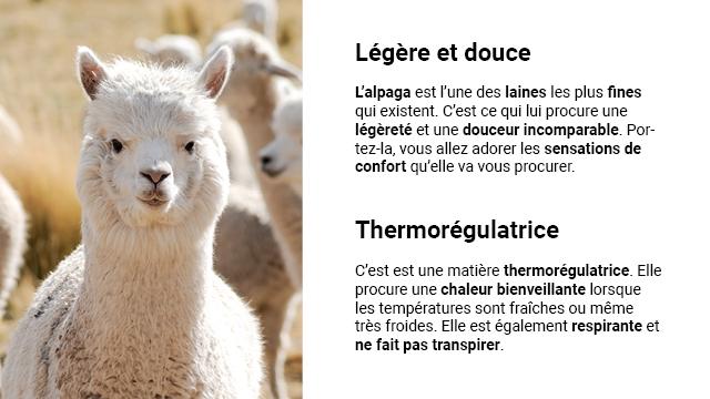 Legere et douce L'alpaga est des laines les plus fines qui existent C'est ce qui lui procure une legerete et une douceur incomparable Por- tez-la, yous allez adorer les sensations de confort qu'elle va vous procurer. Thermoregulatrice C'est est une matiere thermoregulatrice. Elle procure une chaleur bienveillante lorsque les temperatures sont fraiches ou meme tres froides. Elle est egalement respirante et ne fait pas transpirer.