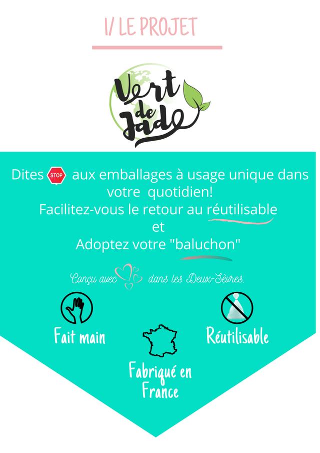 """V LE PROJET Vort Dites STOP emballages a usage unique dans votre quotidien! Facilitez-vous le retour au reutilisable et Adoptez votre """"baluchon"""" Concu avec dans less Deux-Seures. Fait main Reutilisable Fabrique en France"""