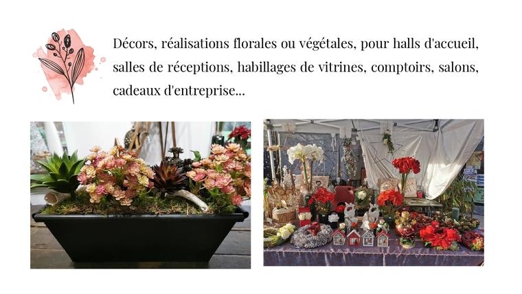 Décors, réalisations florales ou végétales, pour halls d'accueil, salles de réceptions, habillages de vitrines, comptoirs, salons, cadeaux d'entreprise