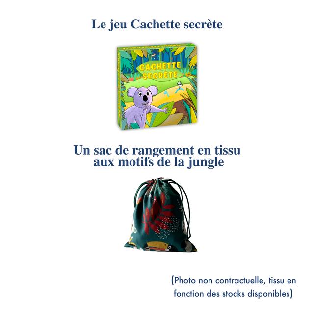 Le jeu Cachette secrete Un sac de rangement en tissu aux motifs de la jungle (Photo non contractuelle, tissu en fonction des stocks disponibles)