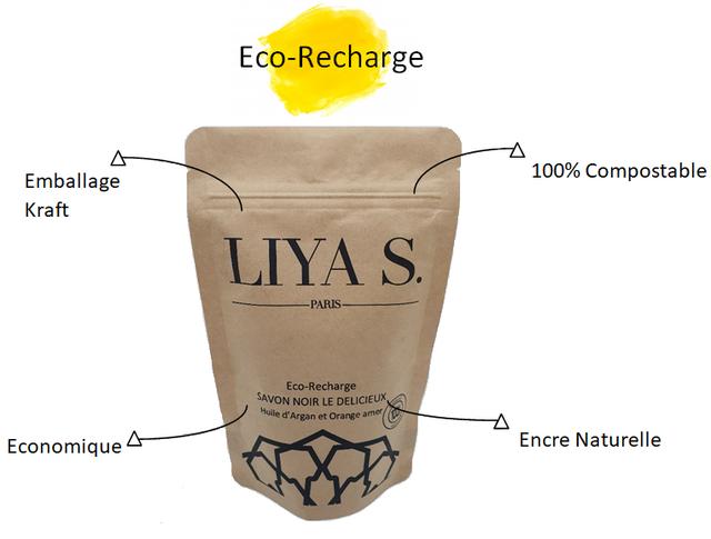 ECo-Recharge 100% Compostable Emballage Kraft LIYA S. PARIS Eco-Recharge SAVON NOIR LE DELICIEUX Huile d Argan et Orange amer Encre Naturelle Economique