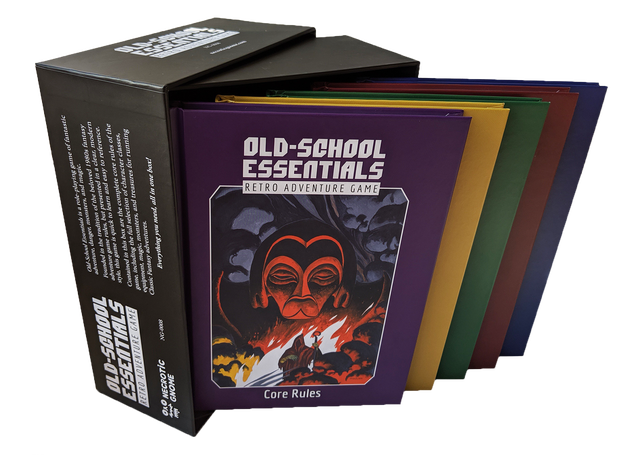 OlschroolEssentials is a ole-playing game of fantastic adventure, danger; monsters, and magic. Founded in the tradition of the beloved 1980s fantasy adventure game rules, but presented in a cleat; modern style this game is quick to learn and easy to reference. RETRO AOVENTURE Contained in this box are the complete core rules of the game including the full selection of character classes, NECROTiC equipment magic, monsters, and treasures for running NG-0008 Classic Fantasy adventures. GNOME Everythingye you need, all in one bor!