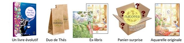 1 3 natorea natorea Un livre evolutif Duo de Thes Ex-libris Panier-surprise Aquarelle originale