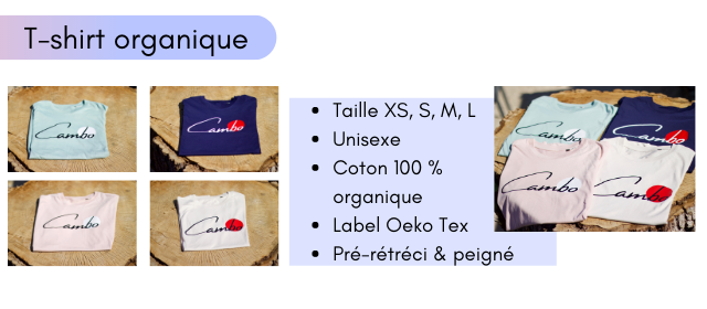 T-shirt organique Taille XS S, M, L Unisexe Coton 100 % organique Label Oeko Tex Pre-retreci & peigne
