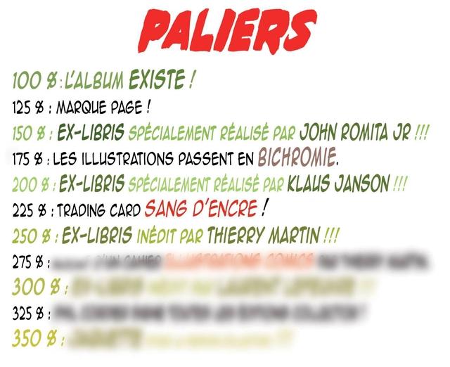 PALIERS 100 g EXISTE / 125 % : MARQLE PAGE ! 150 g : EX-LIBRIS SPECIALEMENT REALISE PAR JOHN ROMITA JR 175 % : LES ILLUSTRATIONS PASSENT EN BICHROMIE. 200 EX-LIBRIS SPECIALEMENT REALISE PAR KLAUS 225 % : TRADING CARD SANG D'ENCRE / 250 g EX-LIBRIS INEDIT PAR THIERRY MARTIN !!! 275 : 300 g : 325 % : 350 g