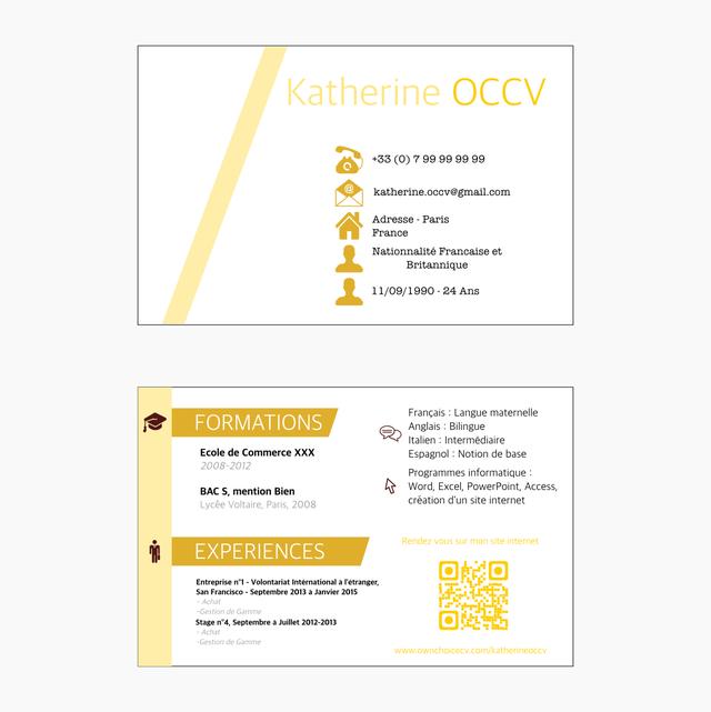CV Cartes De Visite Graphiste Recto Verso Bien Connu Aquarel