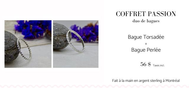 COFFRET PASSION duo de bagues Bague Torsadee + Bague Perlee 56 $ Taxes incl Fait a la main en argent sterling a Montreal