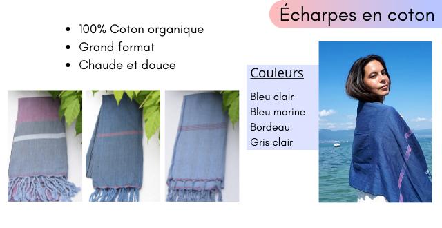 Echarpes en coton 100% Coton organique Grand format Chaude et douce Couleurs Bleu clair Bleu marine Bordeau Gris clair