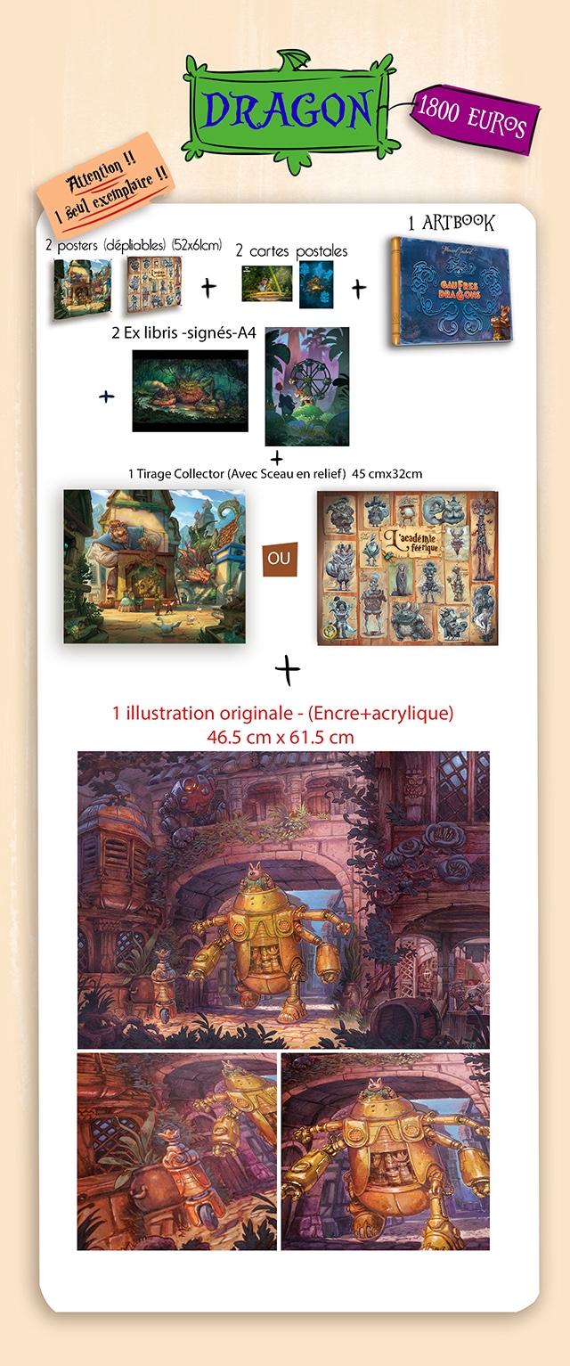 DRAGON EURos 1 ARTBOOK 2 posters (depliobles) (52x6lcm 2 cartes postoles BRA 2 Ex libris -signes-A + 1 Tirage Collector (Avec Sceau en relief 45 cmx32cm feerique OU 1 illustration originale (Encre+acrylique) 46.5 cm X 61.5 cm