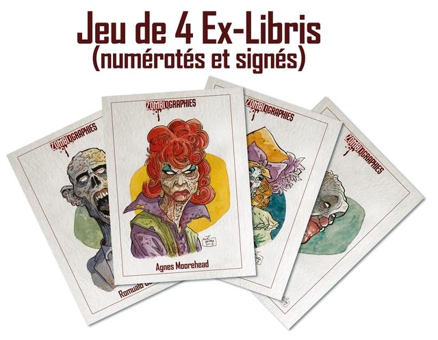 Jeu de 4 Ex-Libris (numerotes et signes) OMBTOGRAPHIES Agnes Moorehead