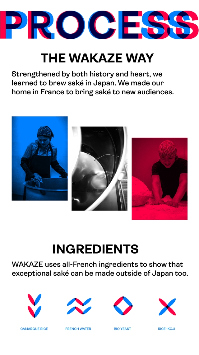 ESS THE WAKAZE WAY Strengthened by both history and heart, we learned to brew sake in Japan. We made our home in France to bring sake to new audiences. INGREDIENTS WAKAZE uses all-French ingredients to show that exceptional sake can be made outside of Japan too. V N X CAMARGUE RICE FRENCH WATER BIO YEAST RICE-KOJI