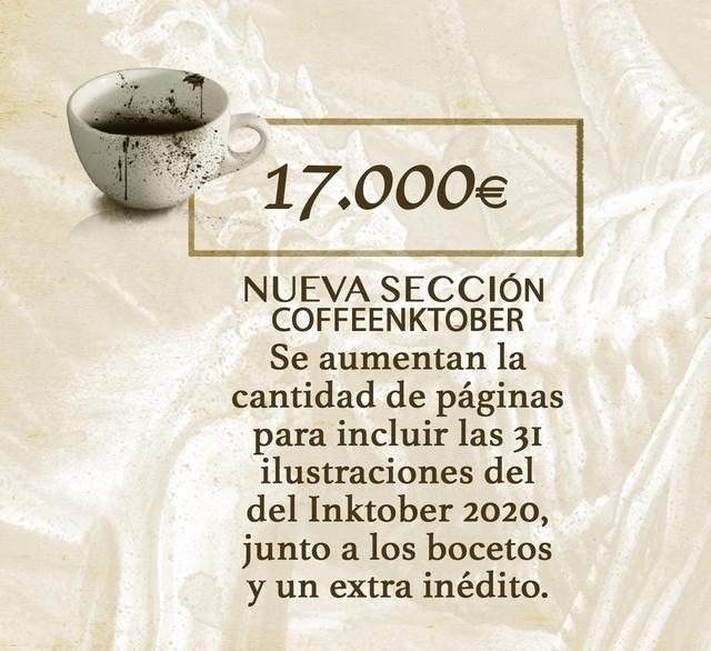 .000€ NUEVA SECCION COFFEENKTOBER Se aumentan la cantidad de paginas para incluir las ilustraciones del del Inktober 2020, junto a los bocetos y un extra inedito.