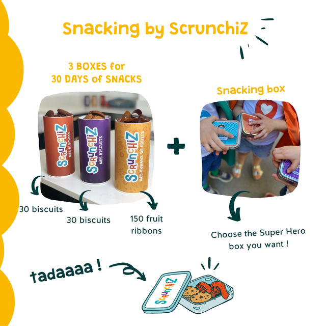 Snacking by Scrunchiz 3 BOXES for 30 DAYS of SNACKS Snacking box 30 biscuits 30 biscuits 150 fruit ribbons Choose the Super Hero box you want ! tadaaaa