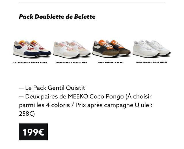 Pack Doublette de Belette PONGO - MIGHT - PASTEL PINK coco . - BUST - Le Pack Gentil Quistiti - Deux paires de MEEKO Coco Pongo (A choisir parmi les 4 coloris / Prix apres campagne Ulule : 258€) 199€