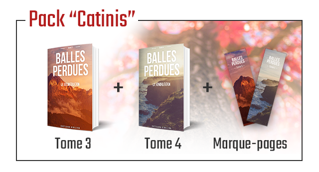 """Pack """"Catinis' BALLES BALLES PERDUES PERDUES Tome 3 Tome 4 Marque-pages"""