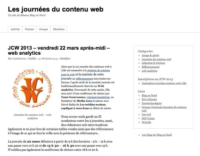Le site des journées du contenu web