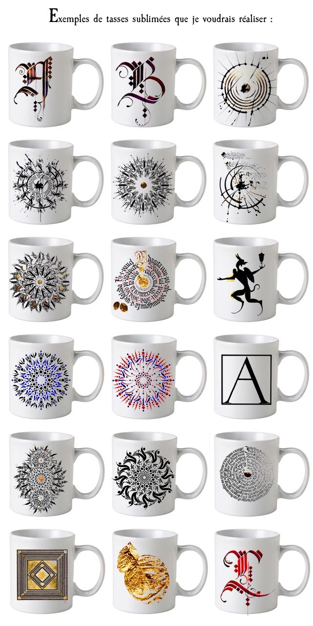 Exemples de tasses sublimees que je voudrais realiser : OA