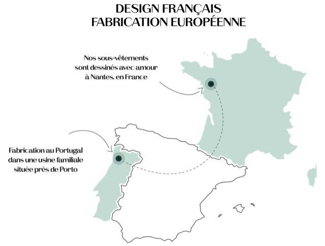 Nos sous-vêtements sont dessinés avec amour à Nantes, en France. Ils sont fabriqués dans une usine familiale au Portugal, près de Porto.