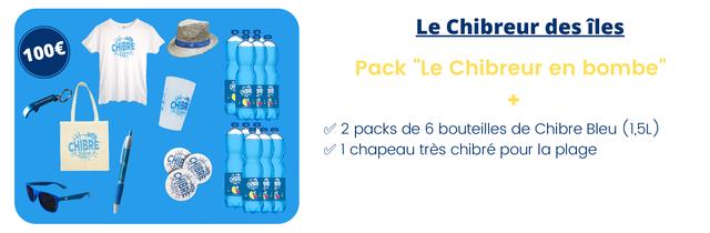 """Le Chibreur des iles CHIBRE Pack """"Le Chibreur en bombe"""" 2 packs de 6 bouteilles de Chibre Bleu (1,5L) CHIBRE Bleu 1 chapeau tres chibre pour la plage"""