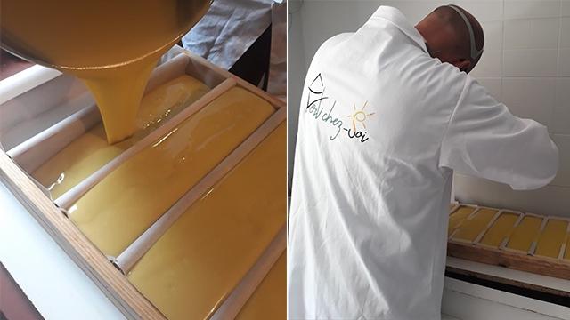 coulage de savon à froid vert chez-soi par l'artisan