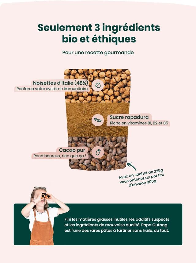 Seulement 3 ingredients bio et ethiques Pour une recette gourmande Noisettes d'italie (48%) Renforce votre systeme immunitaire Sucre rapadura Riche en vitamines BI, B2 et B5 Cacao pur Rend heureux, rien que ca de 225g Avec obtenez pot vous denviron 3009 Fini les matieres grasses inutiles, les additifs suspects et les ingredients de mauvaise qualite. Papa Outang est I'une des rares pates a tartiner sans huile, du tout.