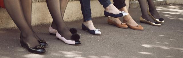 Ballerines françaises avec pompon, ballerines avec pattes mexicaines, ballerines avec noeud