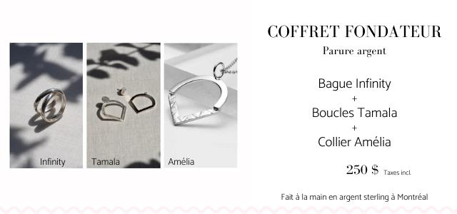 COFFRET FONDATEUR Parure argent Bague Infinity + Boucles Tamala Collier Amelia Infinity Tamala Amelia 250 $ Taxes incl Fait a la main en argent sterling a Montreal