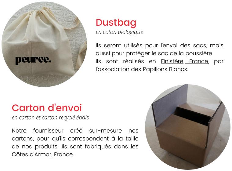 Dustbag en coton biologique Ils seront utilisés pour l'envoi des sacs, mais aussi pour protéger le sac de la poussière. peurce. Ils sont réalisés en Finistère, France, par l'association des Papillons Blancs. Carton d'envoi en carton et carton recyclé épais Notre fournisseur sur-mesure nos cartons, pour qu'ils correspondent à la taille de nos produits. Ils sont fabriqués dans les Côtes d'Armor, France.