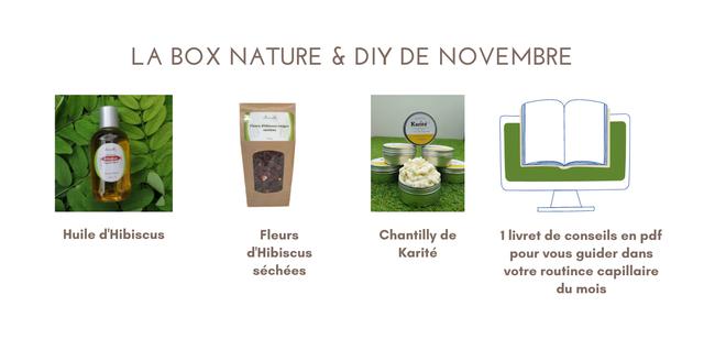 LA BOX NATURE & DIY DE NOVEMBRE rouges Karite Huile d'Hibiscus Fleurs Chantilly de 1 livret de conseils en pdf d'Hibiscus Karite pour guider dans sechees votre routince capillaire du mois