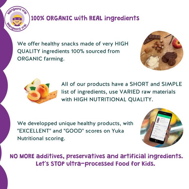 "geons 100% ORGANIC with REAL ingredients We offer healthy snacks made of very HIGH QUALITY ingredients 100% sourced from ORGANIC farming. All of our products have a SHORT and SIMPLE list of ingredients, use VARIED raw materials with HIGH NUTRITIONAL QUALITY. We developped unique healthy products, with ""EXCELLENT"" and ""GOOD"" scores on Yuka Nutritional scoring. NO MORE additives, preservatives and artificial ingredients. Let's STOP ltra-processed Food for Kids."