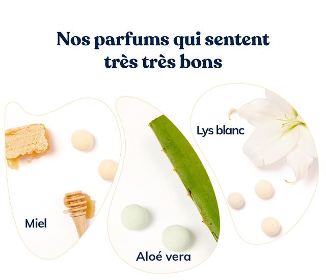Nos parfums qui sentent tres tres bons Lys blanc Miel Aloe vera